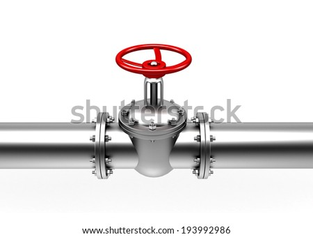pipes valve connection - isolated over white background - stock photo