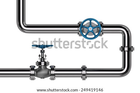 Pipes with Valves isolated. 3D render - stock photo