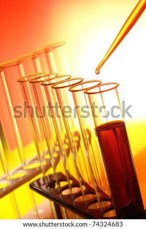 Pipette full of orange liquid with drop of chemical dripping above laboratory test tubes on a rack for a chemistry experiment in a science research lab