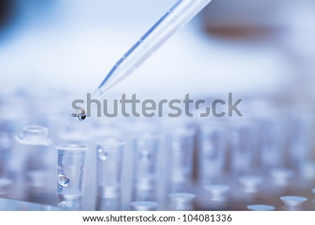 Pipette tip with a droplet over a rack of Eppendorf test tubes. Close up. Blue toning. - stock photo