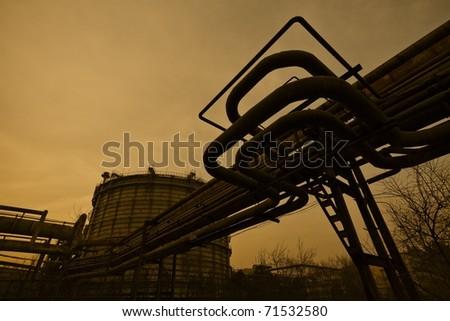 Piping and machinery - stock photo