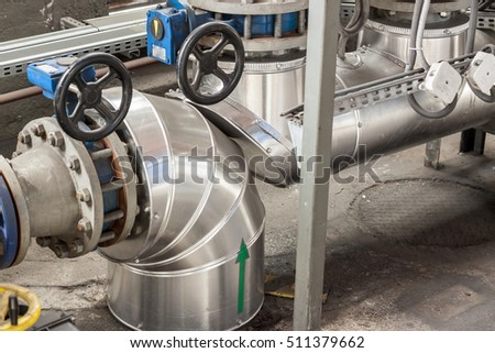 Piping inside of a modern industrial power plant