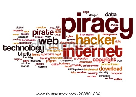 Piracy concept word cloud background - stock photo