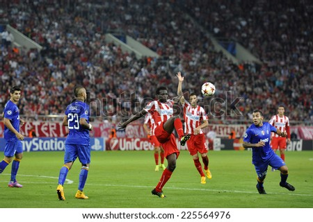 Piraeus, Greece Oct. 22, 2014. Champions League football match between Olympiakos vs Juventus (1-0) at Karaiskaki Stadium in Piraeus - stock photo