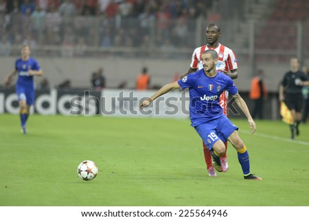 Piraeus, Greece Oct. 22, 2014.Juventus Leonardo Bonucci during t the Champions League football match between Olympiakos vs Juventus (1-0) at Karaiskaki Stadium in Piraeus - stock photo