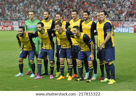 Piraeus,Greece Sept 16, 2014. Atletico team pose for the photographers before the Champions League soccer match against Olympiacos at Georgios Karaiskakis Stadium in the port of Piraeus near Athens - stock photo