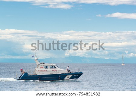 PIRAN, SLOVENIA - SEPTEMBER 3, 2017: Slovenian police coast guard boat at open sea. Border disputes between Slovenia and Croatia revolves around boundary in the Gulf of Piran