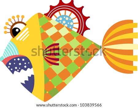 piranha graphic illustration of isolated on white background - stock photo