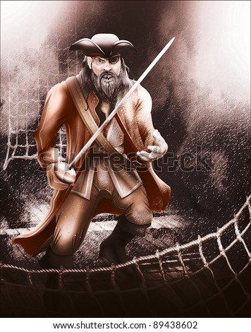 Pirate aboard ship ready for a fight - stock photo