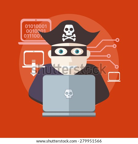 Pirate attacking with a knife a laptop computer as internet pirate. Can be used for web banners, marketing and promotional materials, presentation templates. Raster version  - stock photo