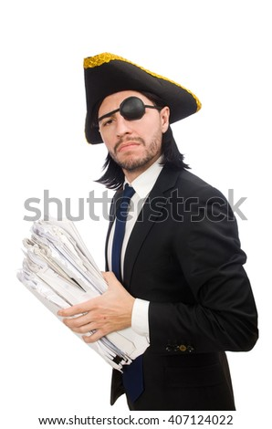 Pirate businessman holding hammer isolated on white - stock photo