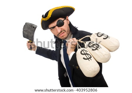 Pirate businessman holding money bags and butcher's knife isolat - stock photo