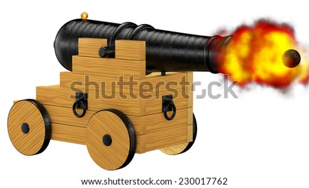 Pirate cannon firing steel ball 3d rendering with clipping path - stock photo