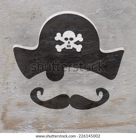 pirate design with wood grain texture - stock photo