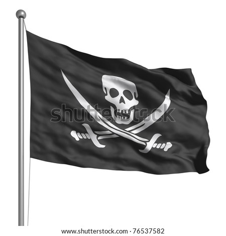 Pirate Flag Waving Pirate Flag Stock Photo