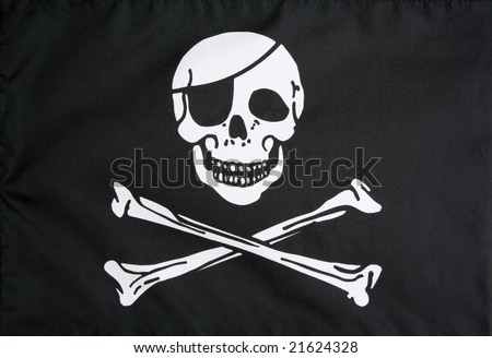 Pirate flag closeup - stock photo