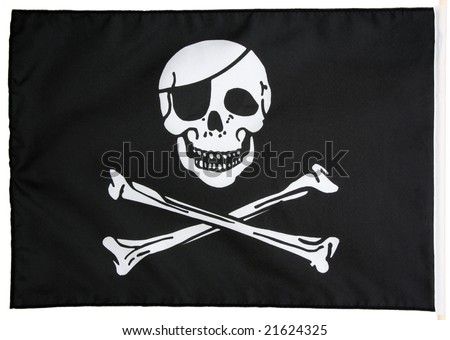 Pirate flag isolated on white - stock photo