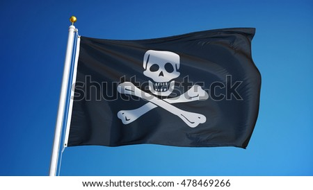 Pirate flag waving against clean blue sky, close up, isolated with clipping path mask alpha channel transparency