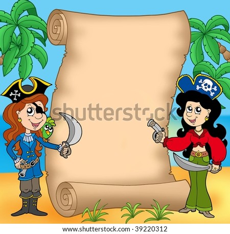 Pirate girls with scroll 1 - color illustration. - stock photo