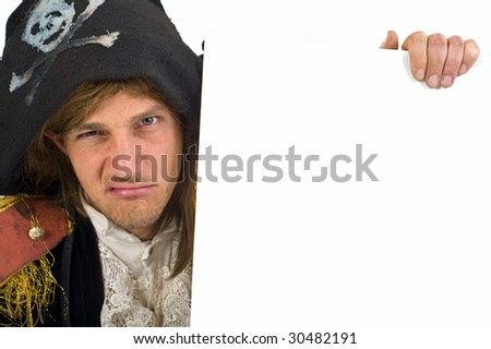 pirate holding a  blank sign with knife in mouth - stock photo