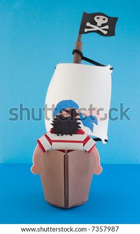 pirate island, toy - stock photo