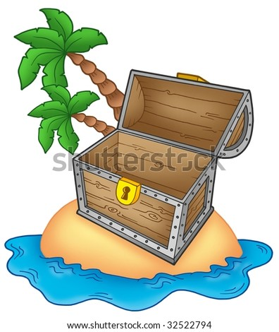 Pirate island with open chest - color illustration. - stock photo