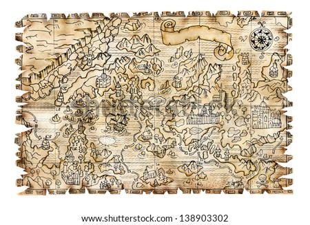 Pirate map isolated 3 - stock photo