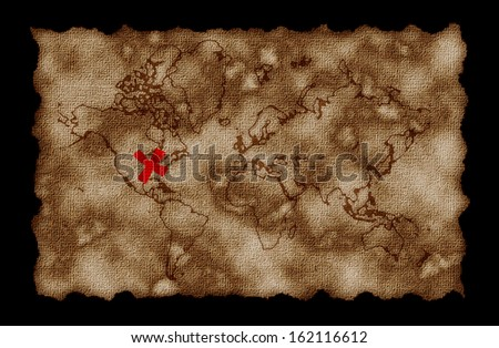 Pirate map with world print, X in america.