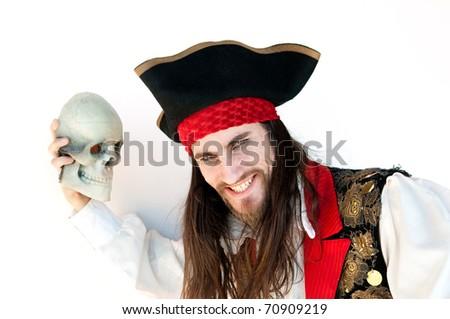 Pirate on white background - stock photo