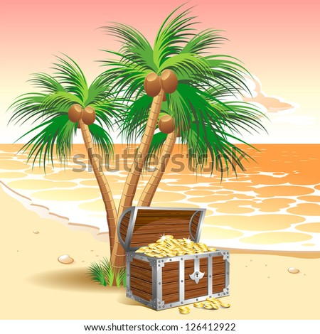 Pirate's treasure chest on a tropical beach with palm trees. Raster version. Vector is also available in my gallery - stock photo