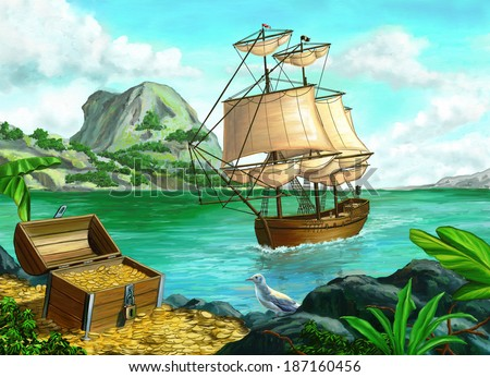 Pirate's treasure on a tropical island. Original digital painting. - stock photo