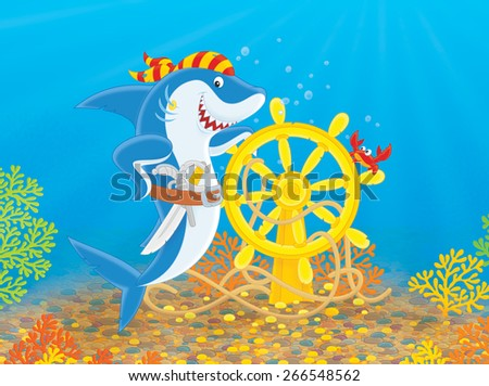 Pirate shark with a pistol, a saber and a steering wheel of a sunken ship - stock photo
