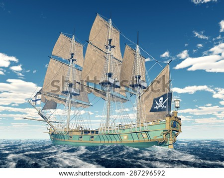 Pirate ship of the 18th century Computer generated 3D illustration - stock photo