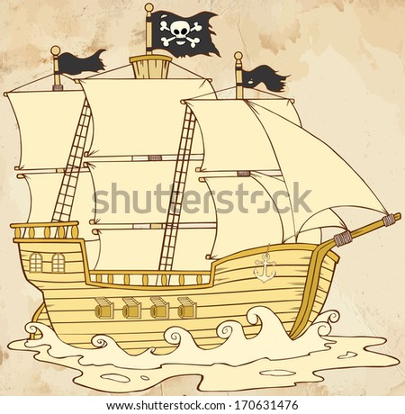 Pirate Ship Sailing Under Jolly Roger Flag In Old Paper. Raster Illustration