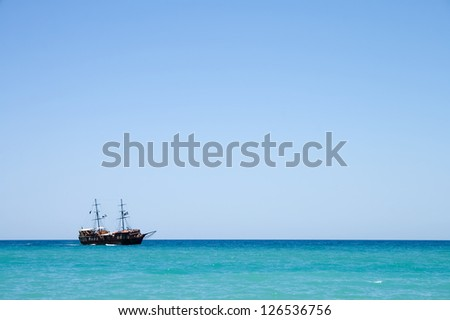 Pirate ship with tourists at sea in Rethymnon, Crete, Greece - stock photo