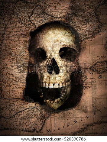 Pirate skull looking out of an old burnt map. Pirate and nautical theme grunge background.