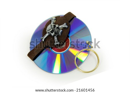 Pirate Skull with gold earring and purple dvds with red interiors