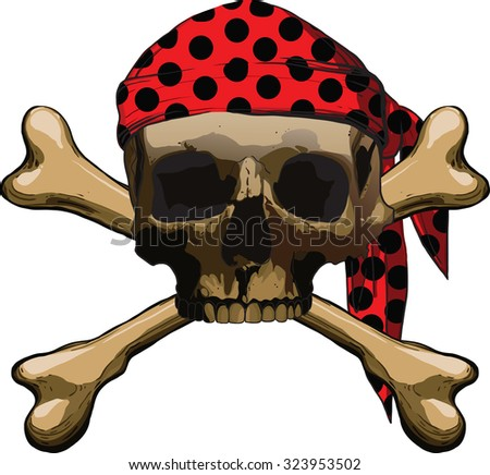 Pirate symbol Jolly Roger with two crossbones isolated on white background - stock photo