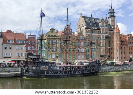 Pirate touristic ship in Old Town of Gdansk, Poland - stock photo