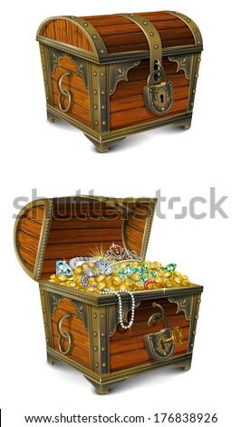 Pirate Treasure Chest - stock photo