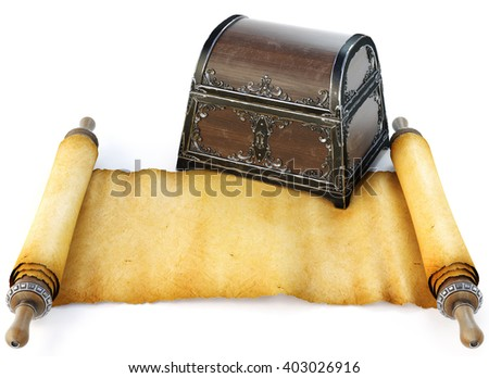 Pirate treasure chest with ancient map. Isolated on white background. 3D illustration. - stock photo