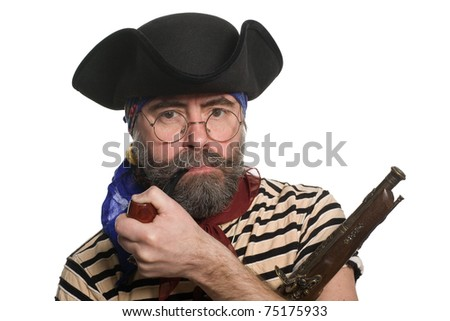 Pirate with a pipe and a musket