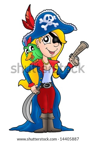 Pirate woman with parrot - color illustration.