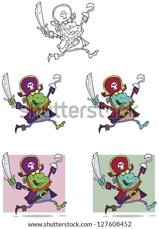Pirate Zombie Cartoon Mascot Characters-Collection. Raster Illustration.Vector Version Also Available In Portfolio. - stock photo