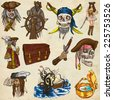 Pirates, Buccaneers and Sailors - Collection (colored pack no.1) of an hand drawn illustrations. Full sized hand drawn illustrations drawing on old paper. - stock photo