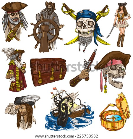 Pirates, Buccaneers and Sailors - Collection (colored pack no.1) of an hand drawn illustrations. Full sized hand drawn illustrations drawing on white background (isolated). - stock photo