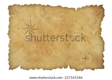 Pirates' parchment treasure map isolated on white with clipping path included - stock photo