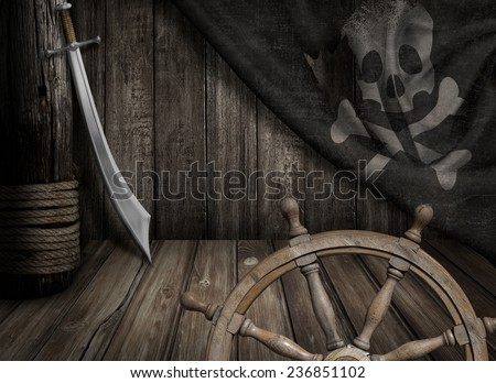Pirates ship steering wheel with old jolly roger flag and saber - stock photo