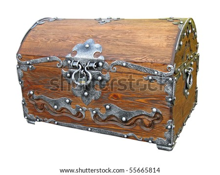 piratical vintage closed wooden chest with rivet metal handle isolated on white background. old treasure, pirate concept - stock photo