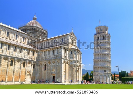 Pisa Cathedral and the Leaning Tower in Piazza dei Miracoli (Square of Miracles), Pisa, Tuscany, Italy